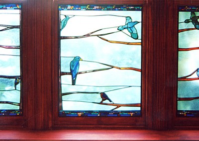 'Birds in Blue', Leaded Stained Glass