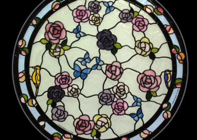 'Roses & Butterflies', Leaded Glass