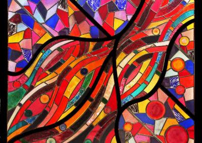 'Random Flow', Fused & Leaded Glass, 1560mm x 1900mm