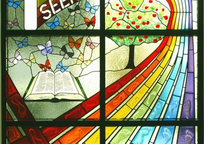 'Seek Joy in Service', Leaded, Fused & Painted Stained Glass